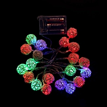 20 LED Multicolour Rattan Ball String Fairy Lights For Xmas Wedding Party Hot MR