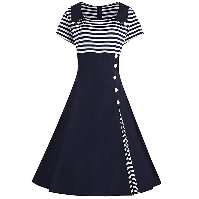 62120d295b2 Generic Fashion Leadsmart Striped A Line Plus Size Vintage Dress ...