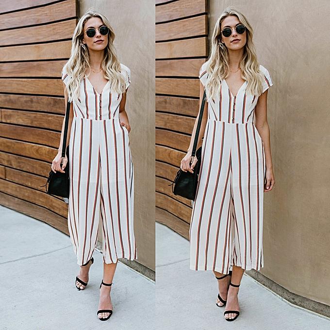 63d682821097 jiuhap store Women Sleeveless Striped Jumpsuit Casual Clubwear Wide Leg  Pants Outfit -White