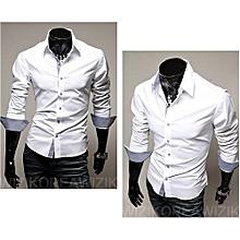 Turn-Down Collar Cotton Long Sleeve Mens Shirts-white