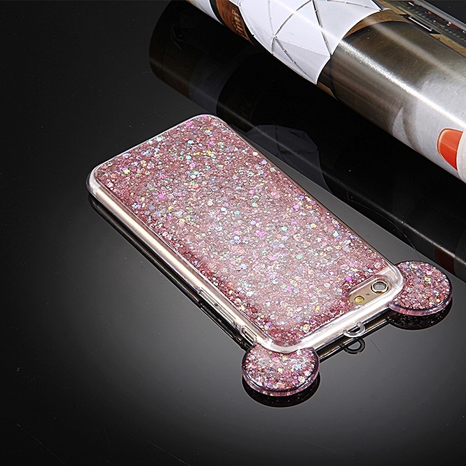 For IPhone 6 & 6s Glitter Powder Mouse Ear Soft TPU Protective Case .