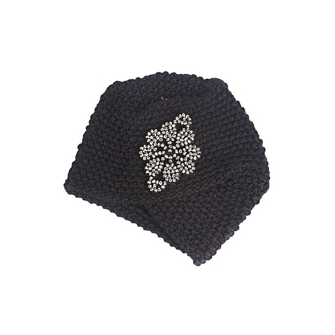 Zetenis Women Ladies Winter Knitting Hat Turban Brim Hat Cap Pile Cap BK- Black 181d4250c13