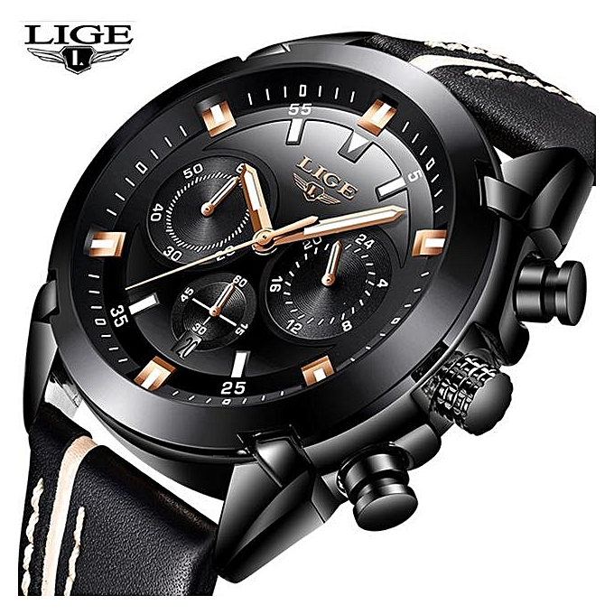 c4c0d49a0 LIGE Mens Watches Top Brand Luxury Business Quartz Watch Men Casual Leather  Waterproof Sport Wrist Watch