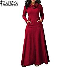 e92b3998f ZANZEA Evening Party Night Dress Women Bow Long Sleeve Pockets Solid Long  Dress