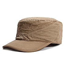 Mens Cotton Solid Flat Top Hat Adjustable Summer Military Visor Baseball Caps