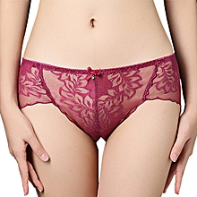 Sexy Translucent Lace Briefs Seamless Mid Waist Cotton Crotch Panties