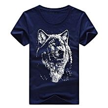 Hequeen Creative 3D Wolf Printed Animal Cotton T-Shirt Summer Men's O-neck Black Short Sleeve Men Shirt Tops