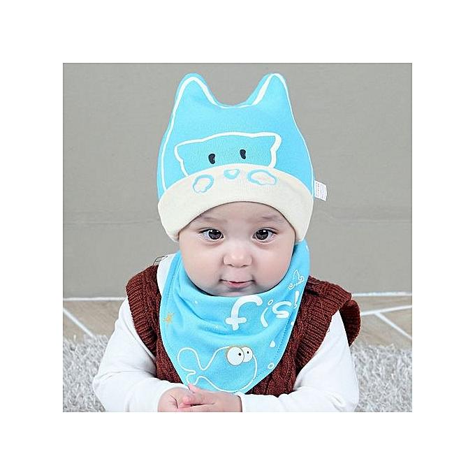 857a75c3e Hiaojbk Store Cotton Baby Boy Girl Cap Bear Hat Bib Head Scarf Toddler  Saliva Set Black-Blue