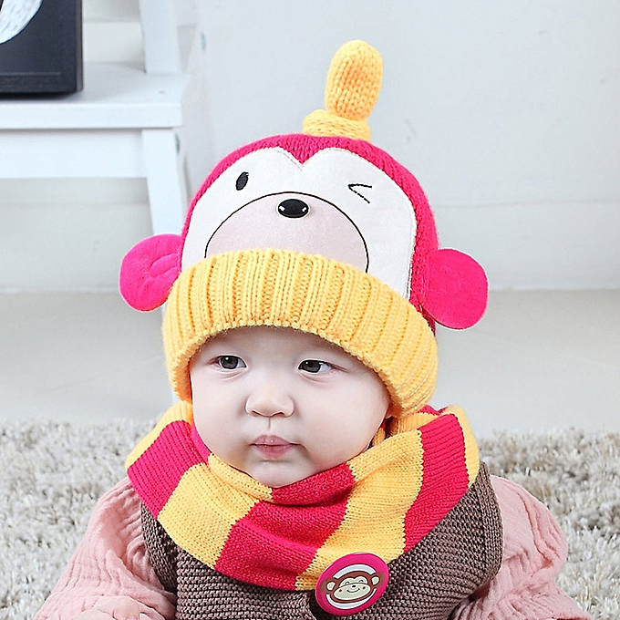 821f703a512 Generic Hiaojbk Store Baby Boys Girls Kids Cartoon Monkey Hat+Scarf 2Pcs  Child Knitting Warm Hats Cap-Hot Pink