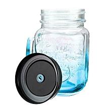 Fashional Vintage Mason Glass Drinking Jar 500ML Retro Vintage 17oz Blue
