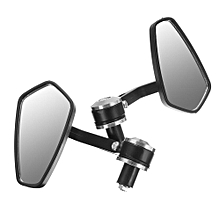 "1 Pair 7/8"" Aluminum Rear View Side Mirror Handle Bar End Universal For Motorcycle (Sliver)"