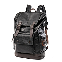 Fashion Retro Men s Round Backpack Oil Wax Soft Leather Multifunction  Laptop Bag Travel Bag de50057618