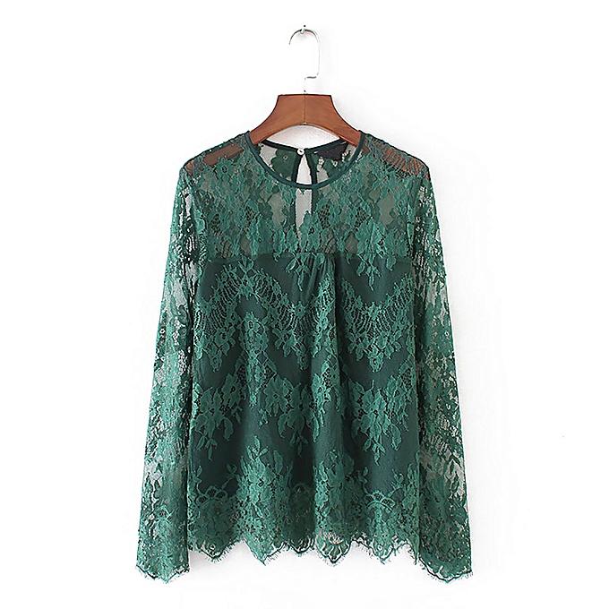 881d4331100992 Hiaojbk Store Women Vintage Transparent Lace Shirt Long Sleeve O-Neck Blouse  Ladies Tops-
