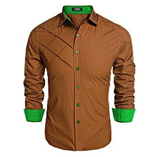 COOFANDY Men Long Sleeve Turn Down Neck Pure Color Loose Tops Casual Loose Cotton Button Down Shirts ( Brown )