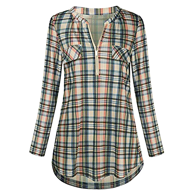 f6cf6ac900de7 Womens Casual Rolled Sleeve Zipped V-Neck Plaid Printed Shirt Tunic Tops  Blouse -Yellow