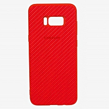 Galaxy S8 Plus Soft Silicon Weave Pattern Case  -  Red