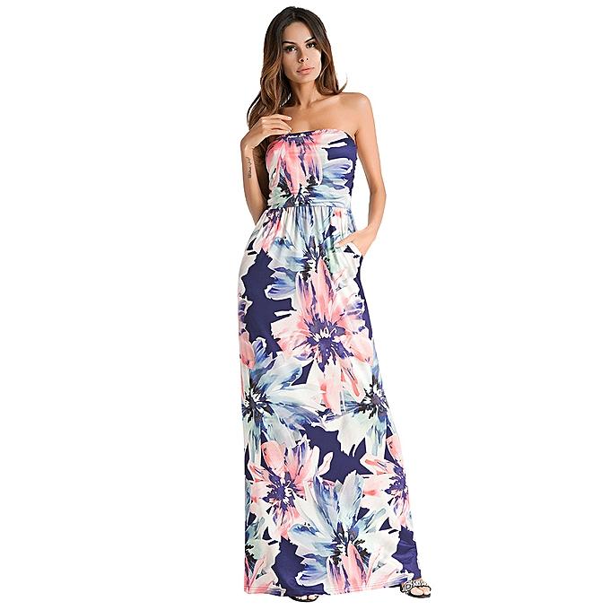 12700cc9652c Summer Women Dress Strapless Bohemian Printed Beach Long Maxi Dress Royal  Blue