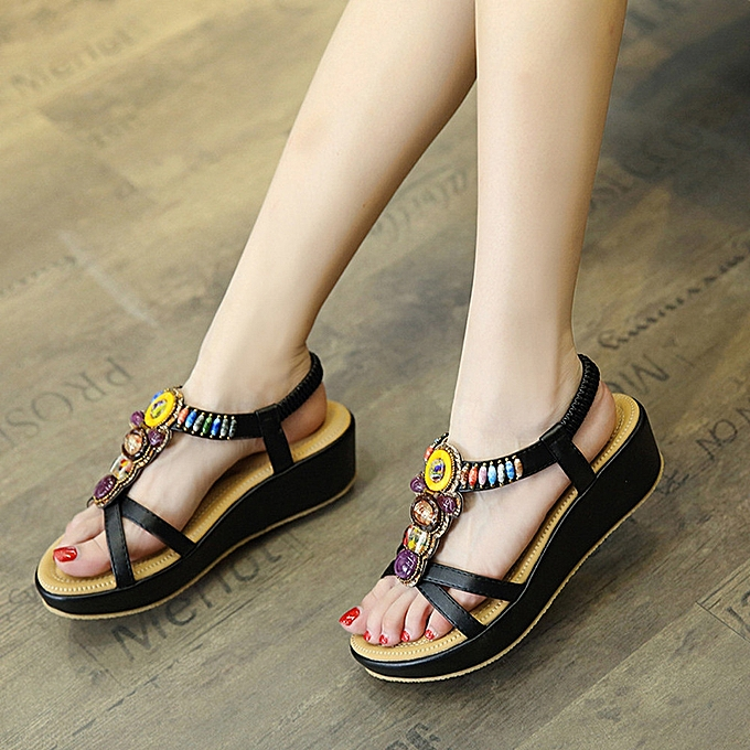 7e978c4adc48 Fashion Women Sandals Summer Bohemia Shoes Wedges Girl Bead Middle Heel  Sandals