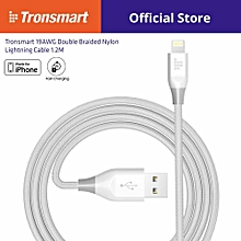 [Apple MFi Certified] Tronsmart 19AWG Double Braided Nylon Lightning Cable 1.2M QTG-W