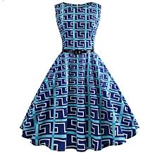 Zaful Hepburn Vintage Series Women Dress Spring And Summer Fashion Floral Printing Design Sleeveless Belt Retro Corset Dress - SKY BLUE