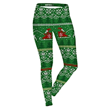 Women Christmas Printed Leggings Yoga Casual Elastic Fitness  Elastic Training Pencil Pants