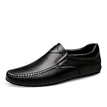 Mens Dress Formal Genuine Leather Loafers Shoes Black