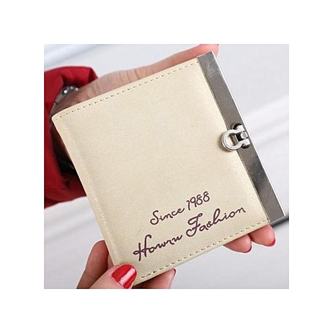 Olivaren Lady Women Ultrathin Mini Purse Leather Wallet Credit Card Holder Bags GiftBeige