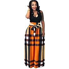 aa615d21762 Summer  039 s new digital orange prints skirt