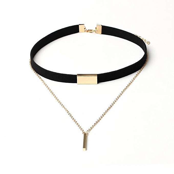 4273e307fbf New Black Velvet Choker Necklace Gold Chain Bar Chokers Chocker Necklace