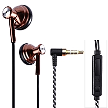 SUR S1636 3.5MM Plug In-ear Stereo Music Earphones with Mic-COFFEE