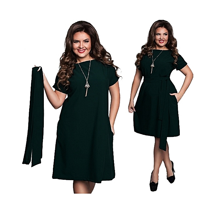 e1af957166 Women Plus Size Dress Short Sleeve Casual O-neck Solid Knee Length-green -