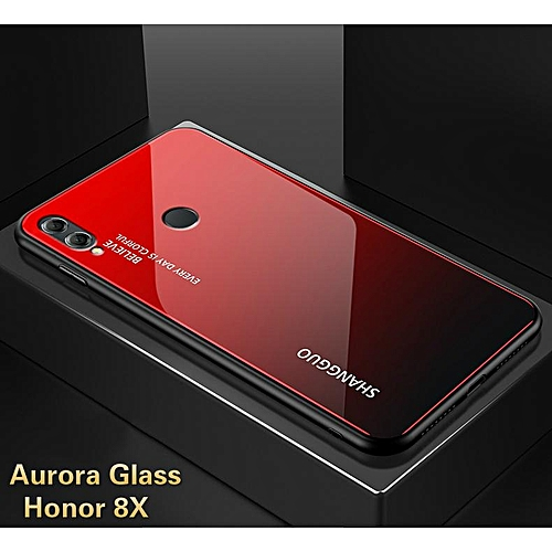 Aurora Glass Case Honor 8X Glass Case Full Cover Tempered Glass Back Cover  Casing For Huawei Honor 8X Case Housing 296274 (Aurora Red)