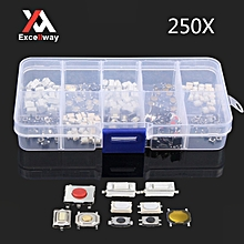Excellway® PB01 250Pcs 10 Types Tactile Push Button Touch Switch Remote Keys