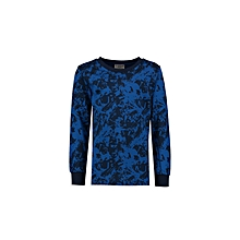 Blue Fashionable Printed Regular Crew Neck T-Shirt
