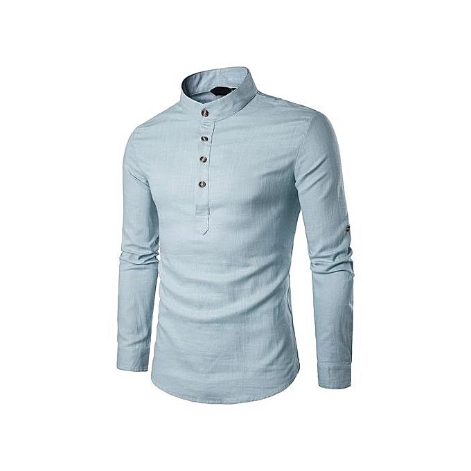 4ea7acbc905a19 Ranicken Shop Men Stand Neck Long Sleeve Daily Look Linen Shirts Tops Blouse  BU L