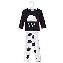 Han Edition Jewel Neck Cloud Raindrop Print Baby Twinset - White+Black - 90