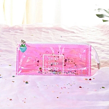 Colorful Transparent Pencil Case Cosmetic Bag Makeup Pouch Pencils Box
