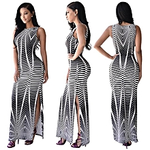 Sleeveless Strap African Print Bodycon Party Maxi Dress-Black