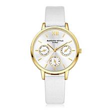 Luxury Women's  LVPAI Wrist Watches Women Classic Leather Band Analog Quartz Round Wrist Watch Watches White-White