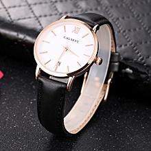 CAGARNY 6879 Fashion Quartz Wrist Watch with Leather Band (Black+ White)