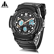 AK16121 Dual Quartz Digital Men Watch LED Stopwatch 5ATM Sport Wristwatch-Orange-Orange