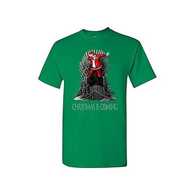 924d51e2 Christmas Is Coming Santa Dabbing T-Shirt Men's Fashion O-Neck Short Sleeved  T