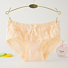 6 packs Women's cotton underwear candy lace bow cute underwear women's underwear-Light yellow
