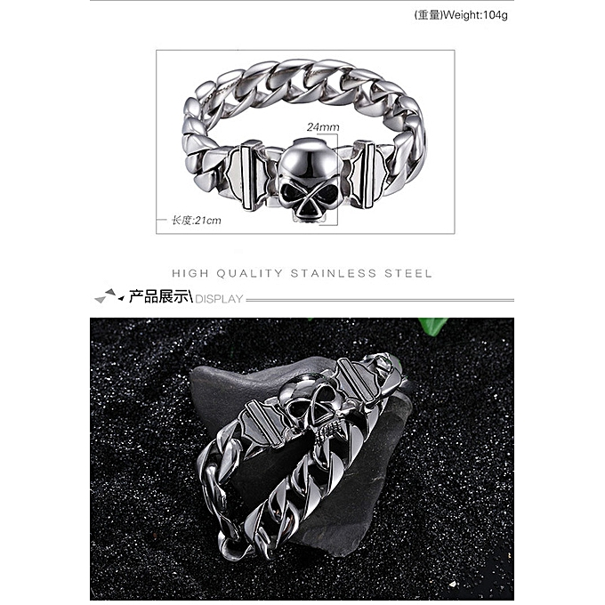788a338dce6 Buckle-Skull Ornaments Baqi Casting Stainless Steel Accessories Titanium  Steel Ghost Head Bracelet for Men