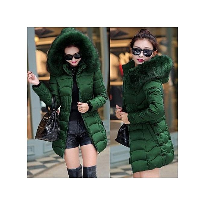 d5335bb1d New Long Parkas Women Winter Coat Thicken Female Down Cotton Jacket Faux  Fur Collar Womens Puffer Outwear Parkas Plus Size (Green)