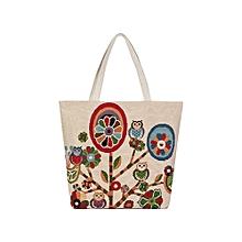 singedan Cartoon Owl Printed Shoulder Bag Women Large Capacity Female Shopping Bag -D