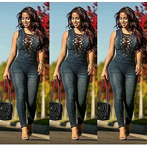 cded825bd961 Fashion Hot Sale New Style Denim Rompers Overalls Women Skinny Jeans Sexy  Blue Lace-up V Neck Sleeveless Denim Jumpsuits Bodysuit-Blue   Best Price