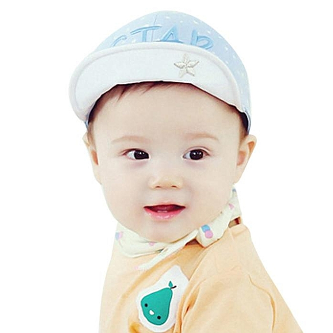29fa96bee32 ... jiuhap store Child Kid Letters Embroidery Stars Print Soft Brim Flang  Sun hat Baseball Cap BU ...