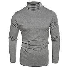 Men Turtleneck Plain T-Shirt - Light Gray