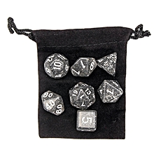 7pcs/Set Polyhedral TRPG Games Dungeons & Dragons Dice D4-D20 Black With Bag